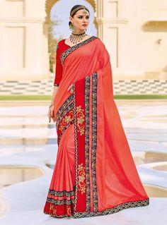 Orange Silk Saree With Blouse 116073