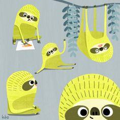 Children's Book Illustration, Art Illustrations, Cute Sloth, Shout Out, Tweety, Illustrators, Jasper, Rainforests, Joyful