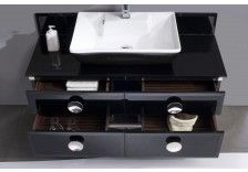 "Moselle 47"" Modern Glass Bathroom Vanity with Mirror"