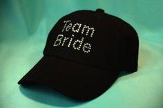 """Black Cap With """"Team Bride"""" in Crystals"""