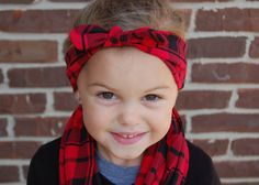 Red and Black Plaid Headband  Tie Turban or Bow by BundleUpBuddy
