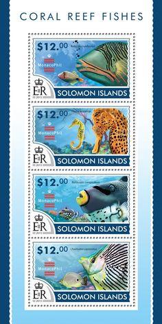 Post stamp Solomon Islands SLM 15209 aCoral Reef fishes (Balistapus undulatus, Hippocamus sp., Balistoides conspicillum, Chaetodon capistratus)