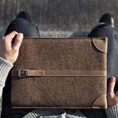 """Merino Wool Felt and premium leather sleeve for MacBook Air 11"""", 13"""", and MacBook Pro Retina 13"""", 15"""". Cocones MacBook Sleeve combines classic design and natural materials for handmade luxury. The sleeve has a leather strap that secures the MacBook and reinforcing leather patches at bottom corners. There is a flap at the top for extra protection-you can either fold it inside the sleeve or buckle it up on the outside. Color: Deep Caramel Brown Please allow 2-3 weeks for delivery."""
