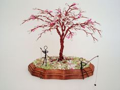 Wire Bead Tree Sculpture  Fishing by wireforest on Etsy, $65.00
