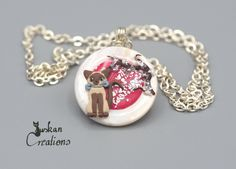 Sakura necklace, shell pendant, cat jewelry, polymer clay necklace pendant…