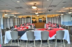 Large room set up for a small group.