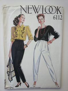 Fitted pockets facing top long pants 1990s sewing pattern, Sizes 8 10 12 14 16 18, Hips 33.5 34.5 36 38, New Look 6112, CarolJoyFashions