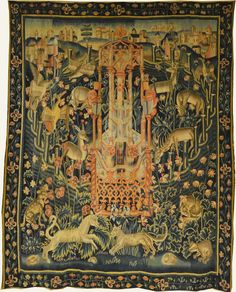 Enclosed garden Medieval World, Medieval Art, Chinoiserie, Medieval Tapestry, The Last Unicorn, Book Of Kells, Mini Paintings, Gravure, Middle Ages