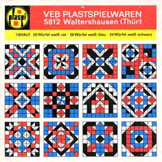 "A DDR game called ""Kubus VEB Plastspielwaren Waltershausen"" from the company Plaspi, ca. 1970's. A block/cube set to plug-and-match to create patterns and mosaics."