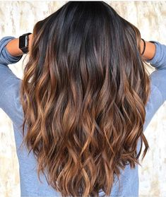 120 bold brunette balayage hair color highlights in 2019 page 30 Brown Ombre Hair, Brown Hair Balayage, Hair Color Balayage, Brown Hair Colors, Chocolate Ombre Hair, Caramel Ombre Hair, Brunette Hair Chocolate Caramel Balayage, Balyage Brunette, Light Brown Ombre