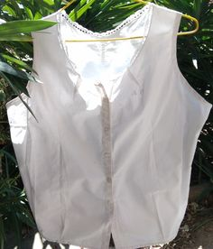 Victorian White Cotton Blouse Curved Monogram French Handmade Cotton Camisole Medium Clothing Costume by SophieLadyDeParis on Etsy