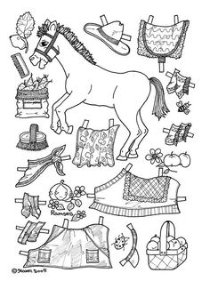 apples pony paper doll coloring page. There are a number of different ponies here to cut out and colour.