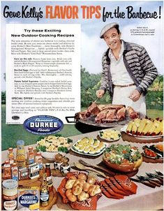 Items similar to Vintage Actor Gene Kelly Magazine ad Vintage Durkee Foods Ad Gene Kelly at the Barbecue! Vintage BBQ Vintage Ad Vintage Hollywood on Etsy Retro Recipes, Old Recipes, Vintage Recipes, 1950s Recipes, Vintage Advertisements, Vintage Ads, Vintage Prints, Vintage Food, Retro Food