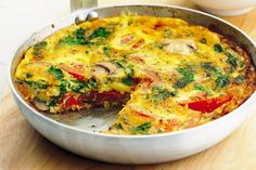 Frittata made the way my son likes it with broccoli and tomato instead of the Italian meats. A vegetable frittata similar to having a vegetable lasagna. Can be used for a Lenten alternative meal. Healthy Frittata, Frittata Recipes, Vegetable Frittata, Vegetarian Cooking, Vegetarian Recipes, Cooking Recipes, Healthy Recipes, Feta, Tomatoes