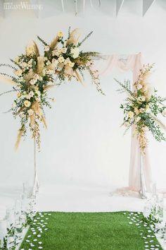 This beautiful boho glam shoots makes us skip a beat | ElegantWedding.ca Wedding Arch Flowers, Indoor Wedding Ceremonies, Wedding Ceremony Arch, Wedding Aisle Decorations, Wedding Altars, Ceremony Backdrop, Floral Wedding, Wedding Ideas, Flower Petal Aisle