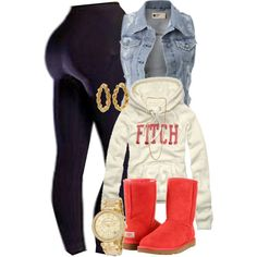 A fashion look from February 2013 featuring Abercrombie & Fitch sweatshirts, UGG Australia ankle booties and Michael Kors watches. Browse and shop related look…