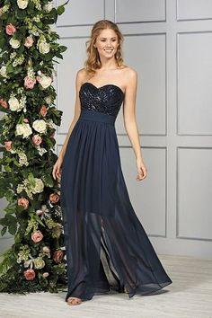c855aac6ac B193057 Long Sweetheart Neckline Sequin   Poly Chiffon Bridesmaid Dress  with Slit