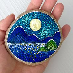 Mountains Painted stone painted rock Fairy garden marker