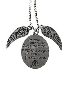 Burnished silver tone chain necklace from Supernatural with Castiel themed charm designs featuring wings and an engraved quote. Supernatural Merchandise, Supernatural Tv Show, Castiel, Tapers And Plugs, Hot Topic Clothes, Prince Purple Rain, Shell Necklaces, Guys And Girls, Cute Jewelry