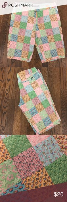 """Vineyard Vines Patchwork shorts Super cute 11"""" Vineyard Vine shorts.  Unfortunately I """"outgrew"""" them.  😣. Great shape, only wore a few times, but they've been hanging in my closet in hopes of losing the weight. Vineyard Vines Shorts"""