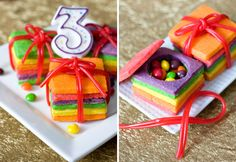 Cookies and candy in one! Digging these sugar cookie boxes filled with Skittles.