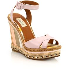 Valentino Leather Crisscross Stripe Espadrille Wedge Sandals ($595) ❤ liked on Polyvore featuring shoes, sandals, apparel & accessories, platform espadrilles, ankle wrap sandals, wedges shoes, open toe sandals and ankle strap sandals