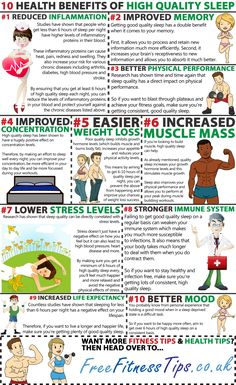 10 Health Benefits Of High Quality Sleep Infographic
