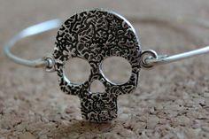 Skull Bracelet, Skull Bangle, Sugar Skull Bracelet, Sugar Skull Bangle, Calavera, Day of the Dead Jewelry, Dia de los Muertes by TheLandlockedDogTwo on Etsy