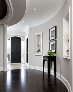 Wall color, white trim, dark floors! Benjamin Moore Barren Plain