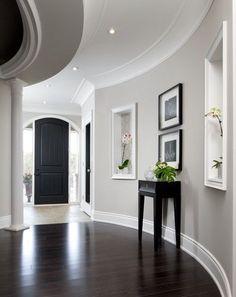 Wall color, white trim, dark floors! Benjamin Moore Barren Plain