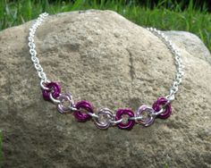 Pink and Purple Flower Girls Necklace Chainmail by rhiannonscastle, $10.00