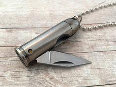 Bullet Knife Pendant Necklace Silver by KaysvilleCraftSupply