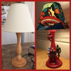 Superhero lamp. Before and after Diy. Up-cycle.