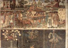 Detalle, Alegoría de Julio, triunfo de Júpiter, Ferrara, Palazzo Schifanoia