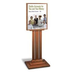 "This finely crafted, 2-sided contemporary floor frame with a slotted base comes complete with 2-acrylic faceplates. Fits 22"" x 28"" rate displays and posters. Available in 5 finishes."