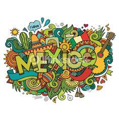 Arte do vetor: rotulação da mão México e elementos doodles fundo