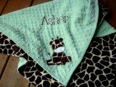 Minky baby Blanket Personalized- baby boy giraffe large - 30x35 stroller blanket
