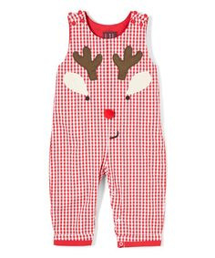 $17.99 Love this Red Gingham Reindeer Overalls - Infant on #zulily! #zulilyfinds