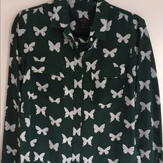 JCrew silk butterfly blouse JCrew silk butterfly blouse, worn once J. Crew Tops Blouses
