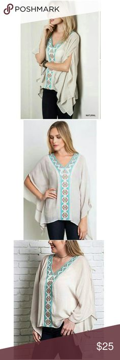 ? umgee blouse ? Cute boho chic shirt with a gorgeous aztec design. Flowy & NWT. Tag states this is a Medium but this can fit large too. NWT. umgee Tops