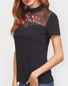 Flower embroidered t shirt splicing mesh for women