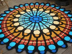 Stained glass? No, crocheting.