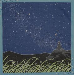 Furoshiki Japanese Fabric 'Tama the Cat and the Milky Way' Cotton 50cm