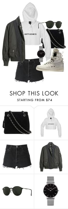 """""""Untitled #20910"""" by florencia95 ❤ liked on Polyvore featuring Chanel, RE/DONE, H&M, Ray-Ban, NIKE and Topshop"""