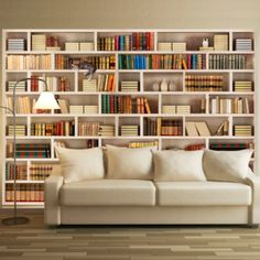 """Availability: on orderResistant, water-rejecting and scratch-proof fleece wallpaper """"Home library"""". Wallpaper """"Home library"""" with the inspiring motive will be an effective eye-catch for each interior. Home Library Design, Home Interior Design, Design Desk, Bookshelf Design, Bookshelves In Living Room, Library Wall, Home Libraries, Home Library Rooms, Wall Shelves"""