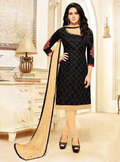 Black Cotton Churidar Salwar Suit 114059