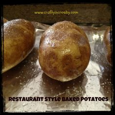 Easy Restaurant Style Baked Potatoes. So much better than the hour bake time.