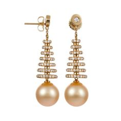 Baggins Pearls 11-12 mm Golden South Sea Pearl Earrings with Diamond Tiers featured in vente-privee.com