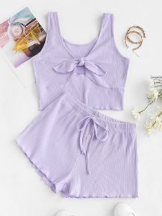 Cute Lazy Outfits, Outfits For Teens, Pretty Outfits, Girl Outfits, Fashion Outfits, Edgy Outfits, Cute Pajama Sets, Cute Pajamas, Two Piece Short Set