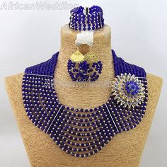 Navy Blue Vivi Crystal Beads Necklace Set,African Nigerian Wedding Beads Jewellery ~African fashion, Ankara, kitenge, African women dresses, African prints, Braids, Nigerian wedding, Ghanaian fashion, African wedding ~DKK